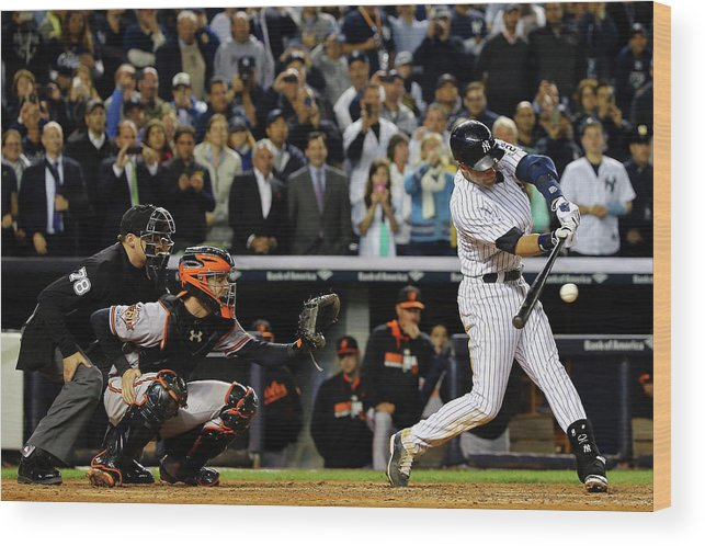 Ninth Inning Wood Print featuring the photograph Baltimore Orioles V New York Yankees 6 by Al Bello