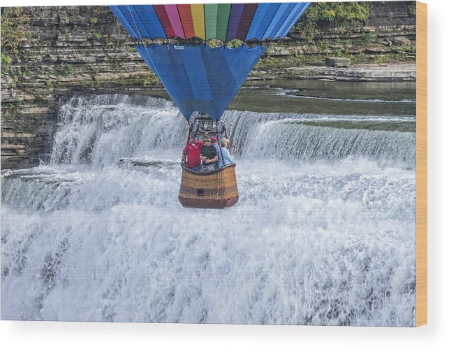 Letchworth State Park Wood Print featuring the photograph Hot Air Balloon Over The Middle Falls At Letchworth State Park by Jim Vallee