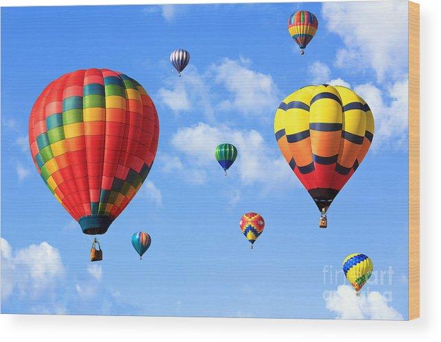 Hot Air Balloon Photograph Wood Print featuring the photograph Hot Air Balloons by Mariusz Blach