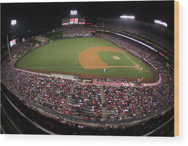 American League Baseball Wood Print featuring the photograph Oakland Athletics V. Los Angeles Angels 6 by Paul Spinelli