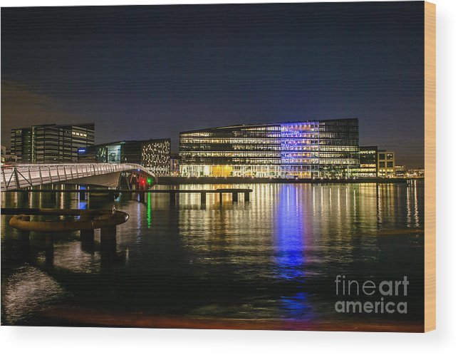 Copenhagen Wood Print featuring the photograph Waterfront by Jorgen Norgaard