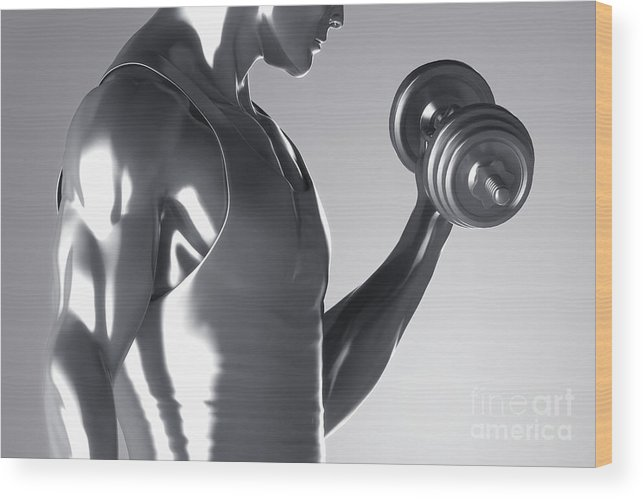 Dumbbell Wood Print featuring the photograph Exercise Workout by Science Picture Co