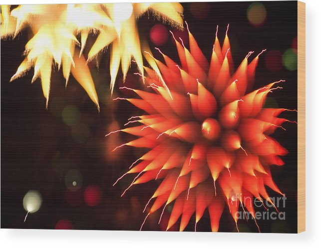 4 Wood Print featuring the photograph Fireworks Art by Benjamin Simeneta