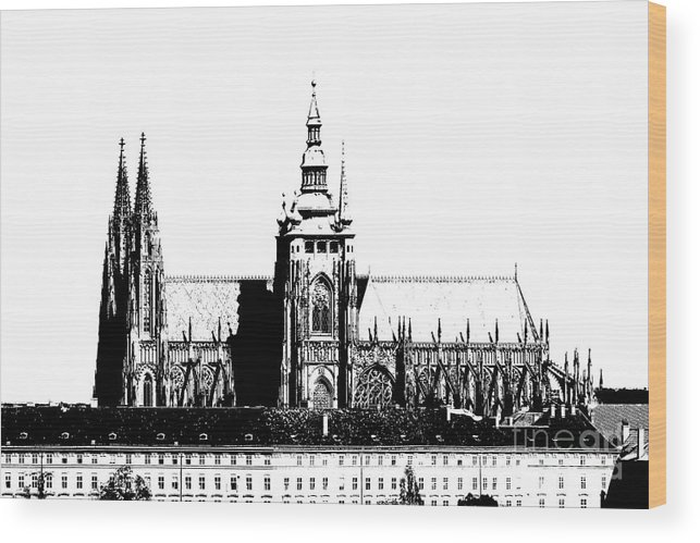 Hradcany Wood Print featuring the digital art Cathedral Of St Vitus by Michal Boubin