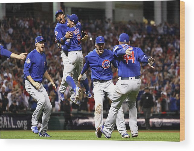 American League Baseball Wood Print featuring the photograph World Series - Chicago Cubs V Cleveland by Ezra Shaw