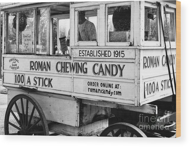 Kathleen K Parker Fine Art Wood Print featuring the photograph A Dollar A Stick Roman Chewing Candy In Bw by Kathleen K Parker