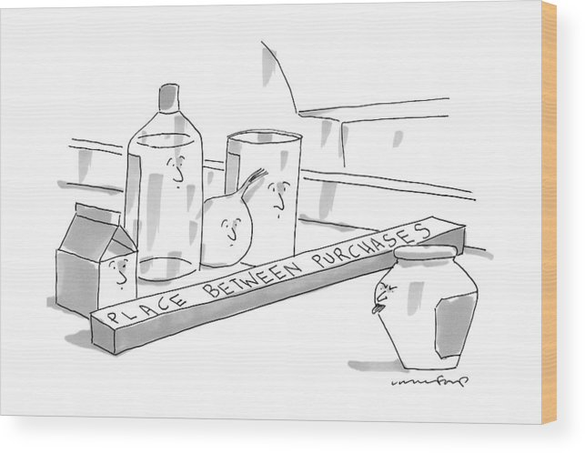Food Wood Print featuring the drawing A Jar On A Supermarket Conveyor Belt Is Sticking by Michael Crawford