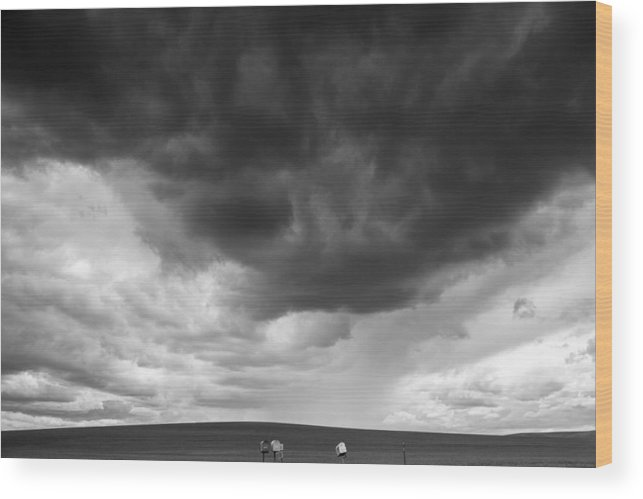 Dark Clouds Wood Print featuring the photograph A Letter Would Be Nice by Kunal Mehra