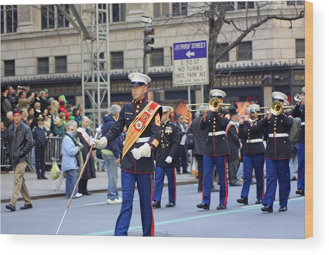 Military Wood Print featuring the photograph A Marine Band Marching In The 2009 New York St. Patrick Day Parade by James Connor