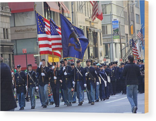 Military Wood Print featuring the photograph A Revolutionary Battalion Marching In The 2009 New York St. Patrick Day Parade by James Connor