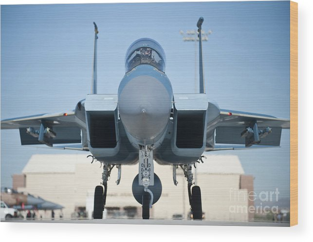 Nellis Air Force Base Wood Print featuring the photograph A U.s. Air Force F-15d Eagle Taxis by Stocktrek Images