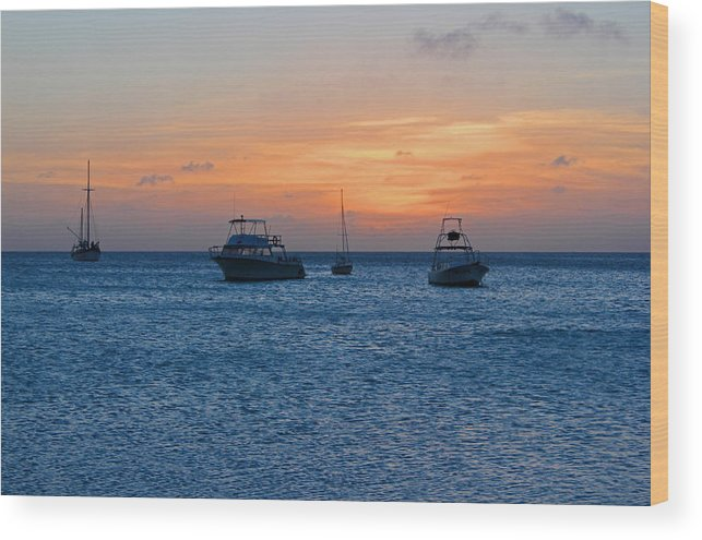 Aruba Wood Print featuring the photograph A View From A Catamaran2 - Aruba by Carolyn Stagger Cokley