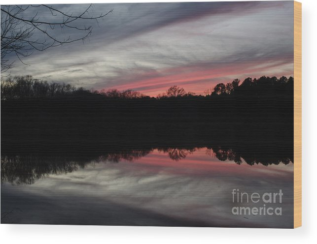 Sunset Wood Print featuring the photograph A Christmas Winter Sunset by Donna Brown