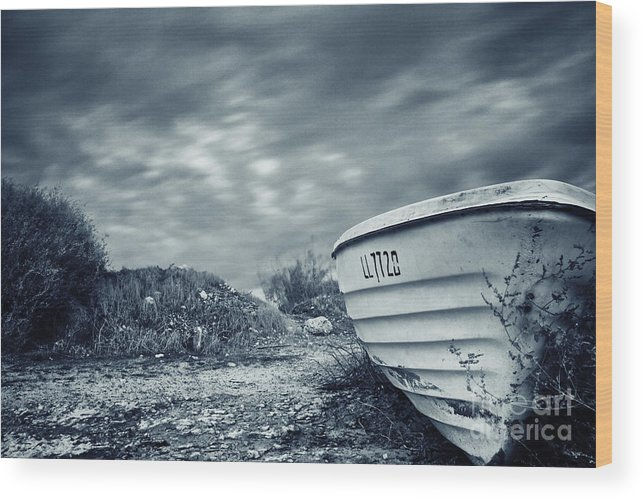 Abandon Wood Print featuring the photograph Abandoned Boat by Stelios Kleanthous