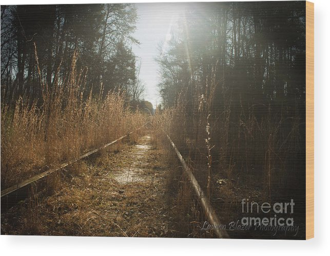Train Wood Print featuring the photograph Abandoned by Lauren Blazer