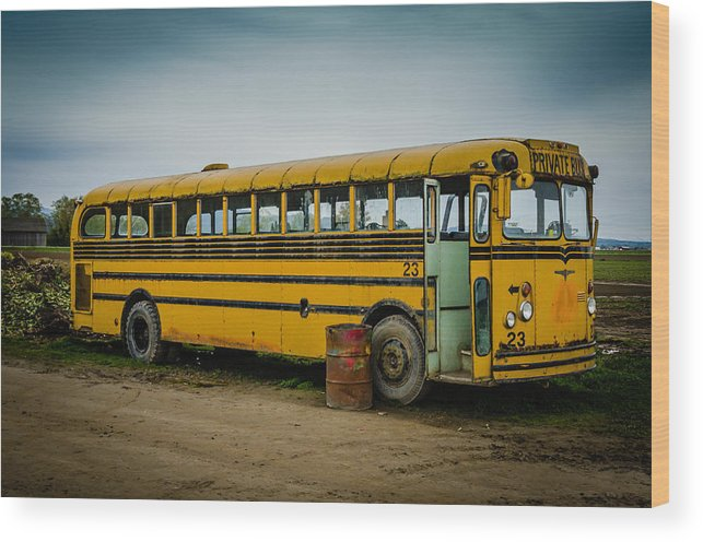 Abandoned Wood Print featuring the photograph Abandoned School Bus by Puget Exposure