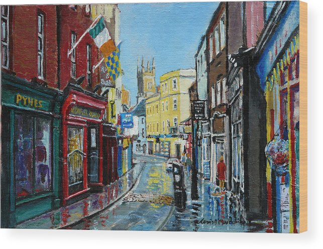 Ennis Wood Print featuring the painting Abbey Street Ennis Co Clare Ireland by Tomas OMaoldomhnaigh