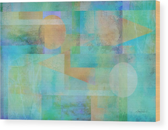 Abstract Wood Print featuring the digital art abstract art Tahitian Blue by Ann Powell