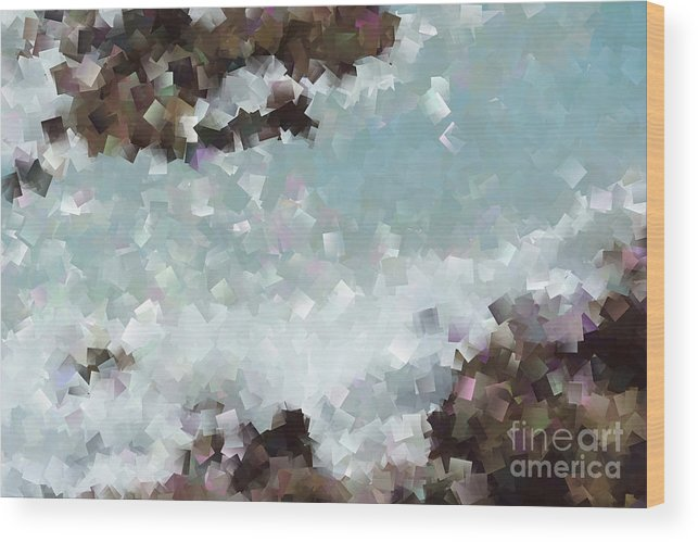 Light Blue Wood Print featuring the photograph Abstract Shores by Tina Stoffel