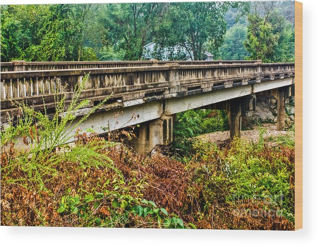 Landscapes Wood Print featuring the photograph Across The Old Bridge by Terri Morris