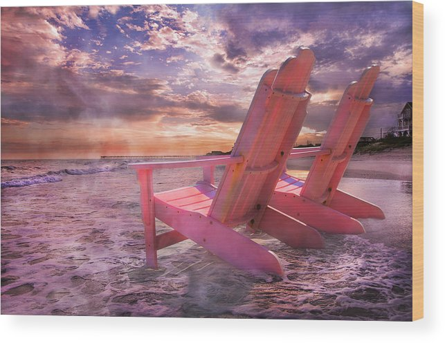 Beach Wood Print featuring the photograph Adirondack Duo by Betsy Knapp