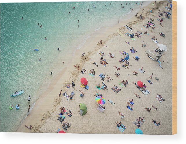 Honolulu Wood Print featuring the photograph Aerial View Of Tourists On Beach by Alberto Guglielmi