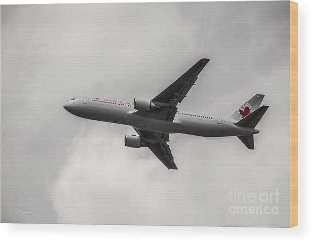Air Canada Wood Print featuring the photograph Air Canada B 767 Monochrome by Rene Triay Photography