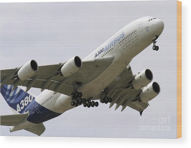 21st Century Wood Print featuring the photograph Airbus A380 In Flight by Andrew Wheeler