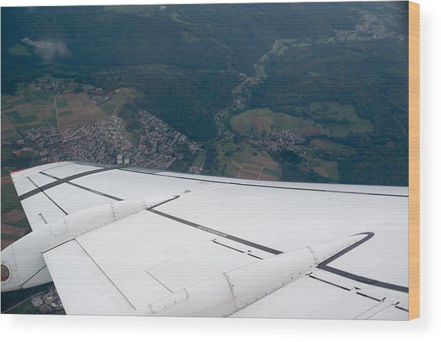 Airplane Wood Print featuring the photograph Airplane Wing by Frank Gaertner