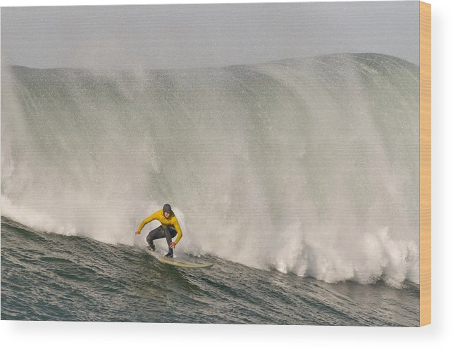 Wave Wood Print featuring the photograph Alex Martins With A Huge Wave On His Heals At The January 2013 Mavericks Invitational Surf Contest by Scott Lenhart