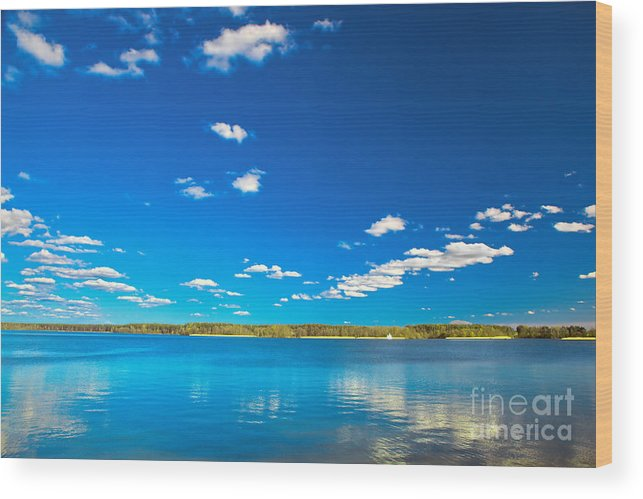 Lake Wood Print featuring the photograph Amazing Clear Lake Under Blue Sunny Sky by Michal Bednarek