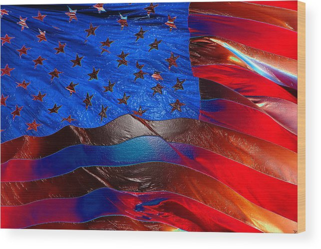 American Flag Wood Print featuring the painting America Rising by David Lee Thompson
