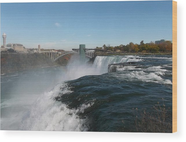American Falls Wood Print featuring the photograph American Falls From Luna Island by Richard Andrews