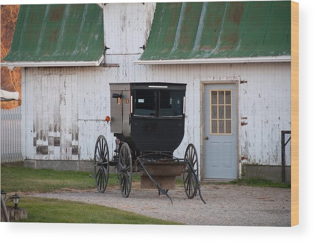 Amish Buggy Wood Print featuring the photograph Amish Buggy White Barn by David Arment
