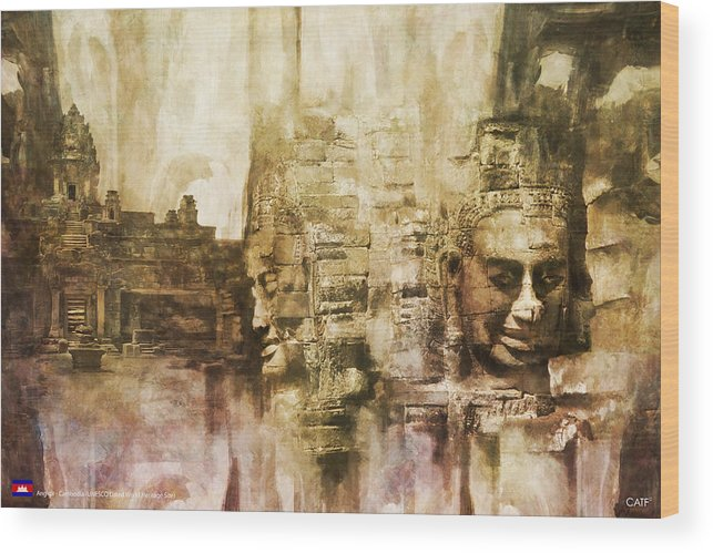 Combodia Art Wood Print featuring the painting Angkor by Catf