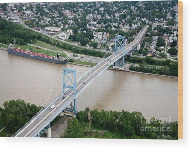 Aerial Wood Print featuring the photograph Anthony Wayne Bridge Toledo Ohio by Bill Cobb