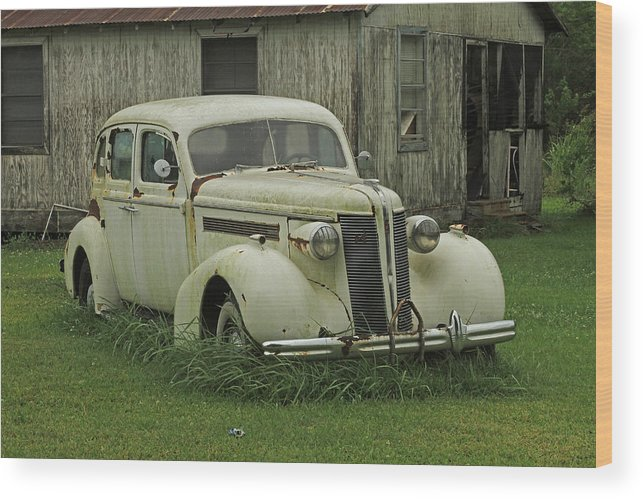 Antique Automobile Buick Wood Print featuring the photograph Antique Automobile Buick by Ronald Olivier