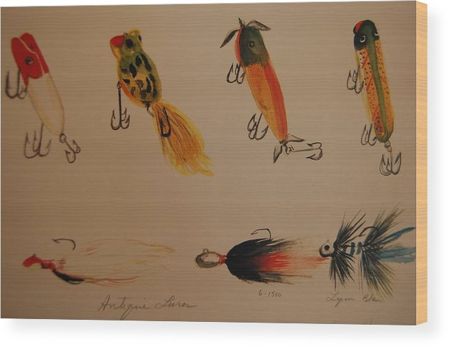 Antique Fishing Lures Wood Print