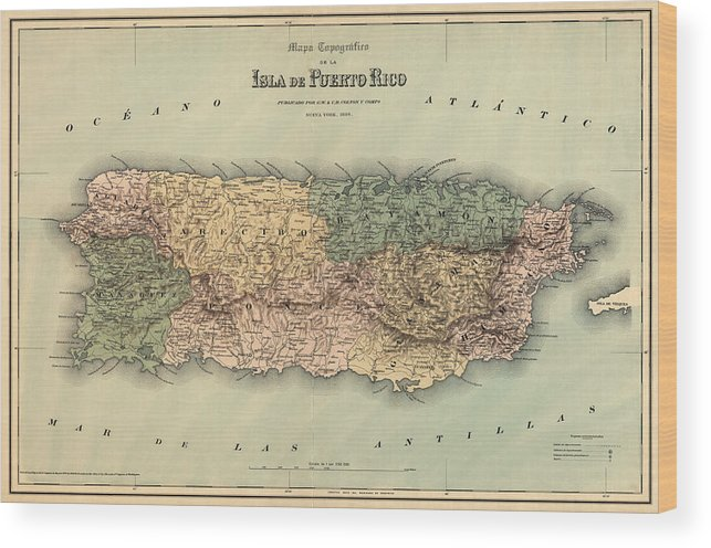 image relating to Printable Maps of Puerto Rico identified as Antique Map Of Puerto Rico - 1886 Wooden Print