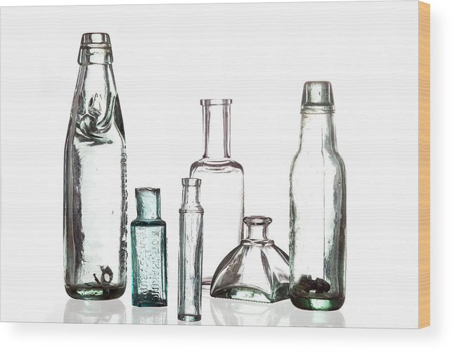 Bottle Wood Print featuring the photograph Antique Old Bottles by Dirk Ercken