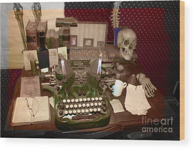 Typewriter Wood Print featuring the photograph Antique Oliver Typewriter On  Old West Physician Desk by Janice - Antique Oliver Typewriter On Old West Physician Desk Wood Print By