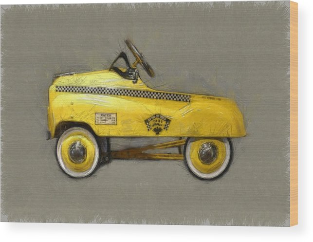 Yellow Cab Wood Print featuring the photograph Antique Pedal Car Lll by Michelle Calkins