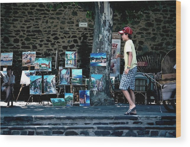 France Wood Print featuring the photograph Art Walk by Carrie Warlaumont