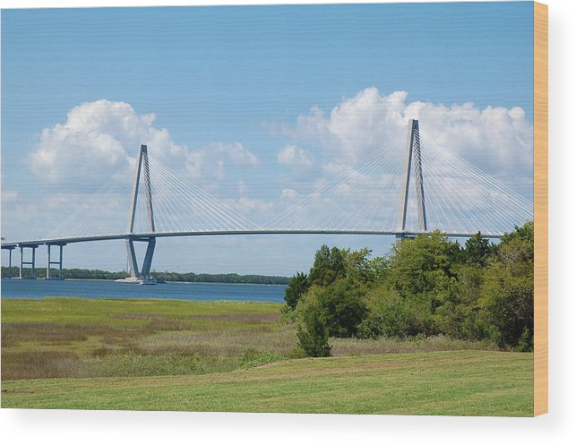 Charleston Wood Print featuring the photograph Arthur Ravenel Jr Bridge by Cathie Crow