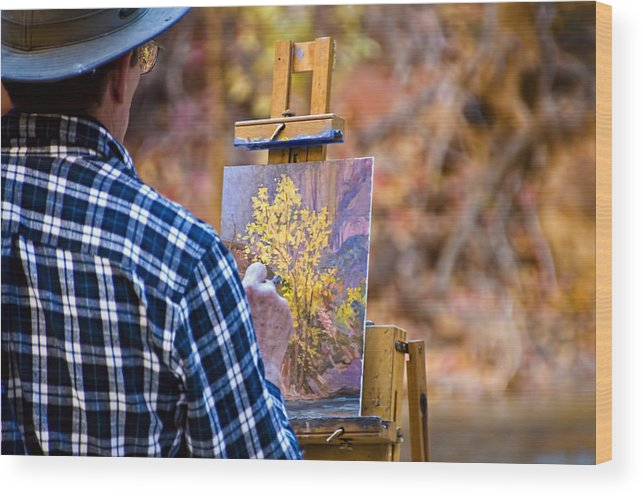 Zion National Park Wood Print featuring the photograph Artist At Work - Zion by Jon Berghoff