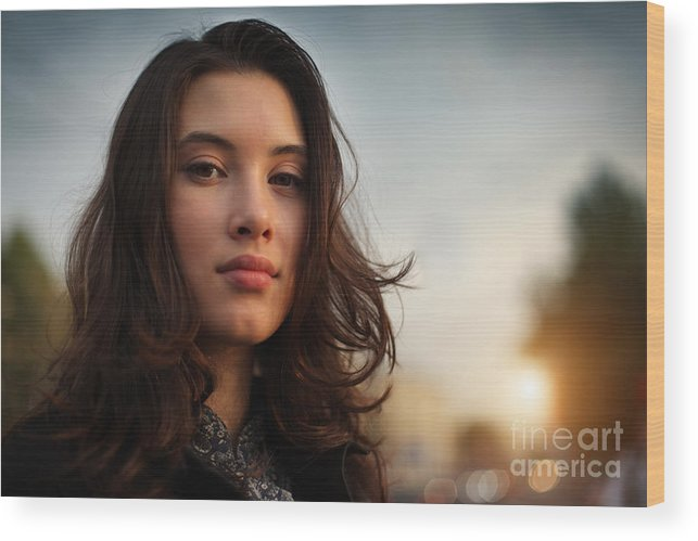 Asian Wood Print featuring the photograph Asian Beauty Girl by Konstantin Sutyagin