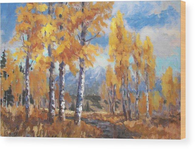 Aspens Wood Print featuring the painting Aspen Stream by Robert Stump