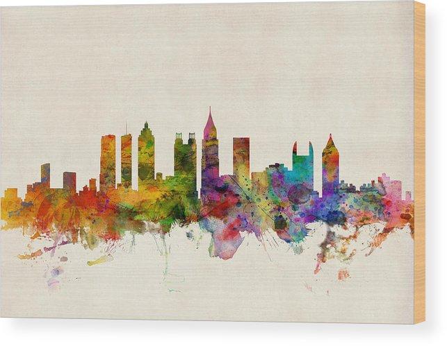 Watercolour Wood Print featuring the digital art Atlanta Georgia Skyline by Michael Tompsett