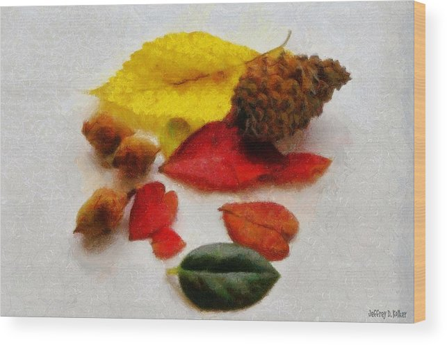 Acorn Wood Print featuring the painting Autumn Medley by Jeffrey Kolker