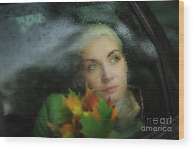 Woman Wood Print featuring the photograph Autumn Melancholy by Konstantin Sutyagin